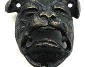 Bulldog bottle opener Cast iron Wall mount  antiqued Black or pick your color