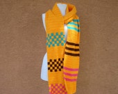 Long Scarf for Women, Multicolor Scarf, Mango, Turquose Blue, Chocolate Brown, Bright Pink Scarf Stripe Checker - Orange Scarf