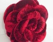 Red Pillow-Throw Pillow-Rose Pillow-Flower Pillow-Decorative Shaped Pillow-Round Pillow