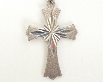 Sterling Necklace Cross Pendant with Chain Vintage