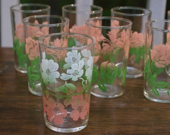 Vintage Pink and Green Floral Juice Glasses Set