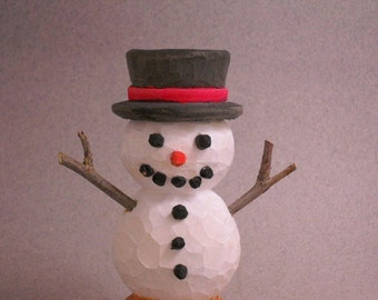 Wood hand carved snowman figure