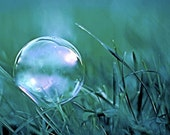 Iridescent Bubble on Grass Shiny Crystal Sphere Balanced on Blue Green Teal Blades Fresh Spring Surreal Nature Art Photography Photo Print