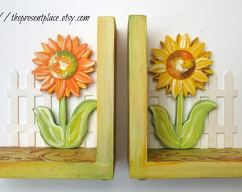 Rustic Sunflower Bookends Hand Painted Customized Bookends Kitchen Decor Sunflowers Rustic