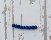 Lapis Bar Necklace on Sterling