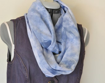 """Blue Dyed Cotton Infinity SCARF #1 - Blue Rayon Hand Dyed Tie Dye Shibori Hand Made Eternity Loop Scarf #77 - 16 x 60"""""""