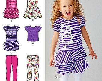 Little Girls' Knit Dress Pattern, Girls' Pullover Top and Capri Leggings Pattern, Sz 3 to 8, Simplicity Sewing Pattern 1435