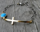 Sterling Silver Chain Gold Cross Turquoise Bracelet Artisan Handcrafted Bohemian Urban Modern Mixed Metals
