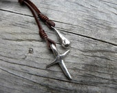 Artisan Sterling Silver Leather Necklace Lariat Chocolate Brown Deerskin Heavy Sterling Silver Cross Drop BOHO Chic