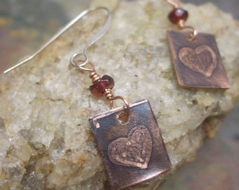 Two Hearts, Etched Copper and Silver earrings, ThePurpleLilyDesigns