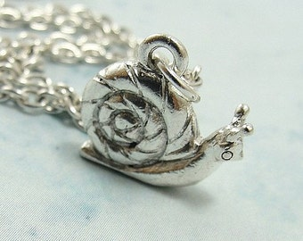 Snail Necklace, Snail Charm on a Silver Cable Chain