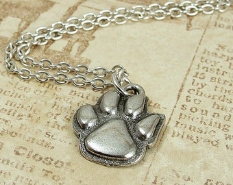 Paw Print Necklace, Silver Paw Print Charm on a Silver Cable Chain