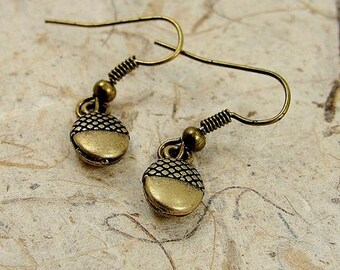 Tiny Acorn Earrings, Antique Bronze Plated
