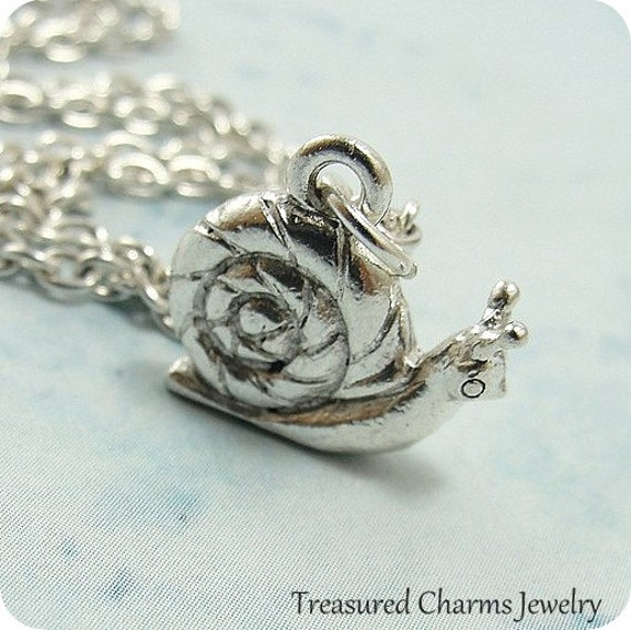 snail necklace snail charm on a silver cable chain