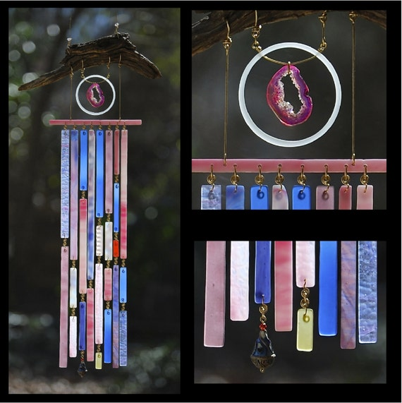 Wind chimes recycled beach glass sea glass by sarahsnature for How to make stained glass in driftwood