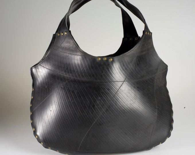 Luxury designer hold-all. Upcycled innertube & lined - Eco fashion bag.