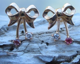14k Gold Retro Diamond and Ruby Bow Earrings
