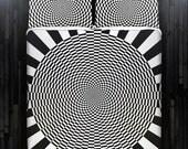 Geometric Zen Optical Illusion Duvet Cover Bedding Queen Size King Twin Blanket Sheet Full Double Comforter Toddler Daybed Kid Teen Dorm