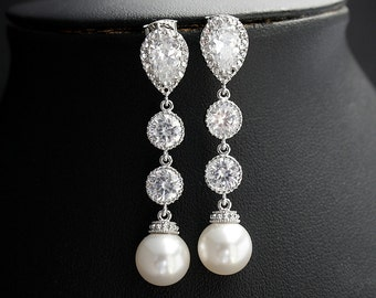 Pearl Drop Bridal Earrings Wedding Pearl Jewelry Cubic Zirconia White Pearl Earrings Silver Wedding Earrings, Kaitlyn