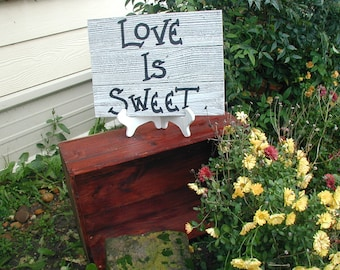 Love is Sweet Candy Bar Wood Wedding Sign Rustic Western Country Black and White Ready to Ship
