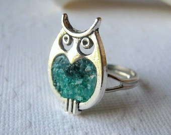 Owl Ring, Stained Glass Ring, Aquamarine Owl Ring, Glass Owl, Silver Owl Ring, Blue Owl Ring, Owl