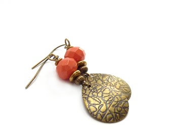 Coral Salmon Dangle Earrings - Bronze Teardrops - Peach Bohemian Style Earrings - Summer Jewelry