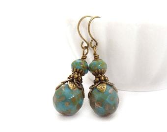 Periwinkle Blue Earrings - Picasso Czech Glass - Bronze Vintage Style Accents - Bohemian Earrings