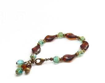 Amber Brown Charm Bracelet - Picasso Czech Glass Beads - Aqua Blue Beads - Bohemian Bracelet