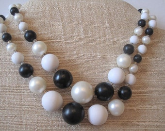 Black and White Mid Century Two Strand Beads from Japan