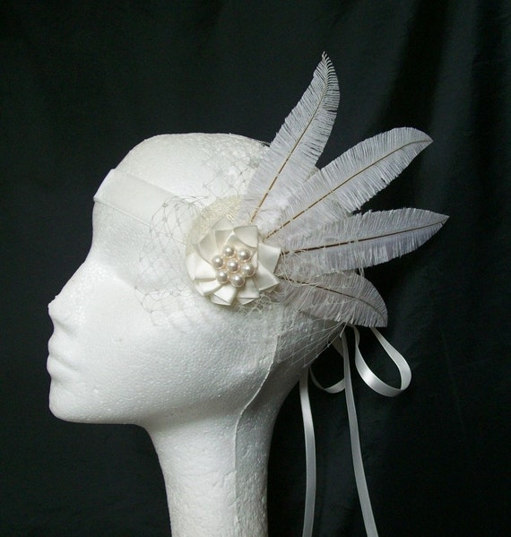 Ivory Ostrich Feather Veil & Pearl 1920's Flapper Style Ribbon Tie Head Band Downton Abbey - Custom Made to Order