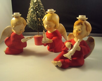 Vintage Trio by the H I Co Japan Angel Children in Red Tiny Candle Holder Figurines