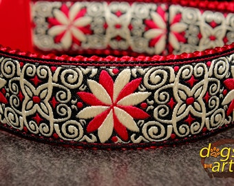 Handmade Dog Collar ZINNIA by dogs-art in red/zinnia red