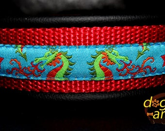 Handmade Martingale Chain Leather Dog Collar DRAGONS by dogs-art in black/red/dragons