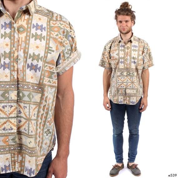 Vintage Woolrich Shirt Mens Summer Button Down Pixel Art