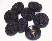 8 Fancy Black Vintage Glass Buttons Satin Sheen 16mm Beautiful Button Embellishments