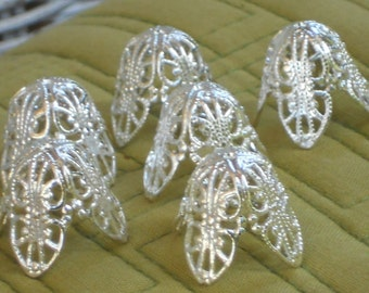 N1401 Vintage Bead Caps Filigree Leaf Petal Artsy Silver Large 20mm by 18mm Cone