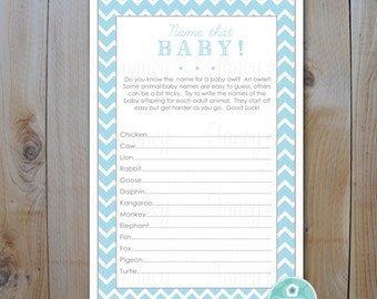 Baby Shower Game Card / Name That Baby Game / Light blue Chevron / DIY Printable Game Cards / Instant Download / PRINTABLE / 204