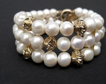 Pearl bracelet, 3 Strand white pearl with gold filled accents, Fresh water pearl bracelet, Gold bracelet, Bridal jewelry