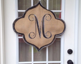 Large Burlap Quatrefoil Door Hanger with Fancy Vine Monogram