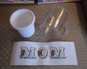 3 pieced plastic cup with counted cross stitched insert