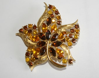 Vintage Coro Leaf Brooch, Rhinestones, Amber Color, Brown, Marquise, Round, Large Size  1950's 1980's
