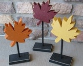 3 Tall Standing FALL MAPLE LEAF Block Set with maple leafs for  Fall decor, Autumn decor, Leaf decor shelf, desk, office and home decor