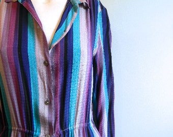 vintage.  60s Striped Silk Dress //  Stanley Sherman at Saks Fifth Ave // M to L