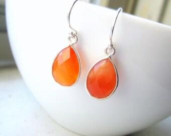 Carnelian Pear Teardrop Earrings - Orange - Bezel Set Sterling Silver Drop - Dangle Earrings