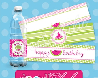 Watermelon Water Bottle Labels - Watermelon Birthday Party Water Bottle Wrappers - 4 designs - PRINTABLE, INSTANT DOWNLOAD