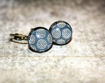 Smoky Blue Earrings Bronze Lever Back Earrings