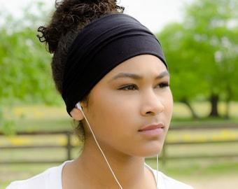Black Headband Sports Headband Women S Headwrap Wide