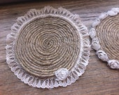 Set of 4 Coasters - Rustic Jute Round Coiled on Cork Bottom - Ivory Lace Trim Rosettes