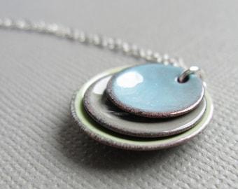 Tea Green Pale Blue Gray Modern Minimalist Enamel Necklace Sterling Silver