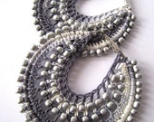 Crocheted hoops in ombre Grey and silver color beads